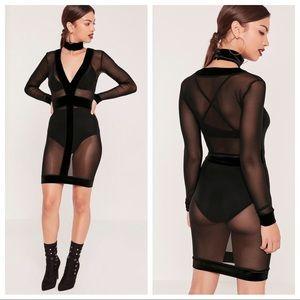 NWT Missguided Choker Velvet Mesh Bodycon Dress!